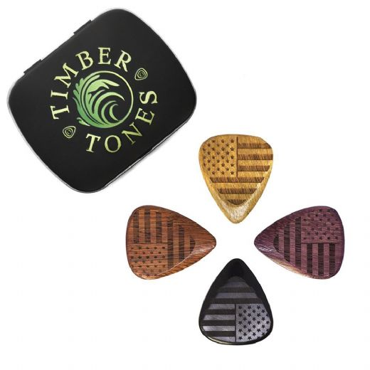 Flag Tones Stars & Stripes Mixed Tin of 4 Guitar Picks